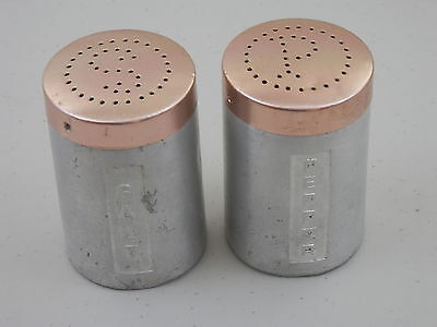 Vintage Spun Aluminum Copper-Top Salt & Pepper Shakers – Made in Italy