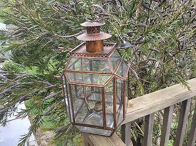 Gilt  metal gothic HALL LANTERN copperized vintage c1920 faceted glass
