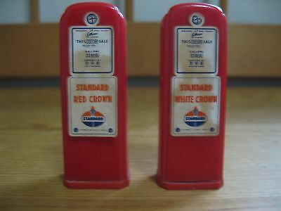 Standard Oil Gas Pump Salt & Pepper Shakers Matched Set St. Charles / Elgin Il.