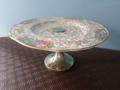 Vintage Old Foley 'Balmoral' Cake Stand / Plate, gold / floral chintz