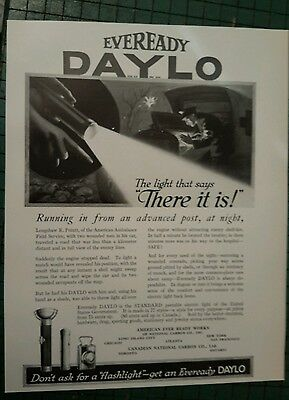 EVEREADY DAYLO Flashlight  ad page 1917 MILITARY Soldier