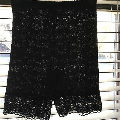 Vtg Subtract Black Lace Long Leg Girdle ILGWU Label Nylon