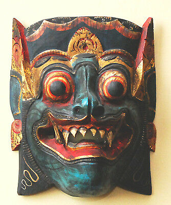 Antique Carved Wood Mahakala Demon Mask Tibet Chinese Fanged Painted Framed