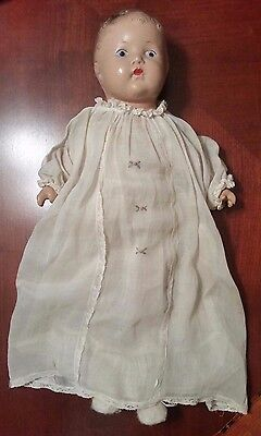 """Antique Composition and Cloth Crier Baby Doll 17"""""""