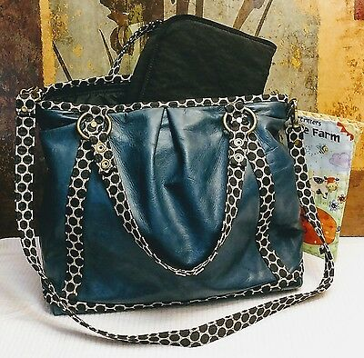 Mia Bossi Diaper Bag Blue Leather and Polka Dot Strap with Kipling Changing Pad