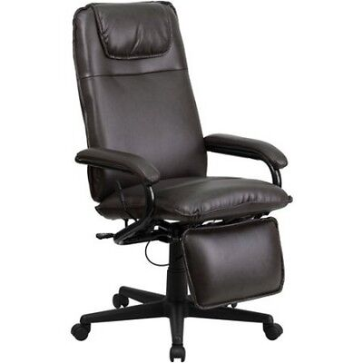 High Back Leather Executive Reclining Office Chair Adjustable Footrest Armchair