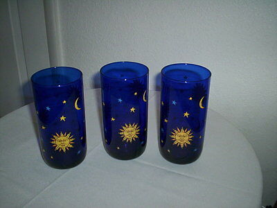 3 Libbey Cobalt Blue CELESTIAL Sun Moon & Stars Drink/Water Glasses-Excellent