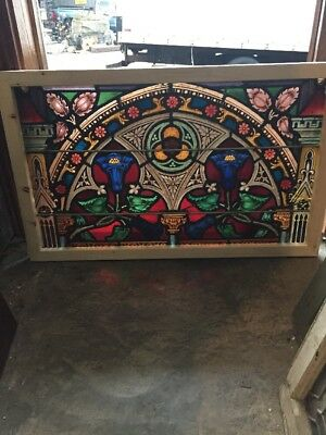 Sg 1519 Painted And Fired Thistle And Steeple Transom Window 22.5 X 36.5
