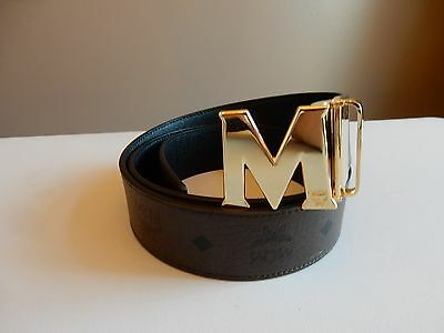 New MCM reversible logo print dark brown and black textured leather belt size 44