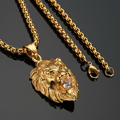 Men's 18K Real Gold Filled Lion Head Pendant Necklace Chain Hip Hop Jewellry 29""