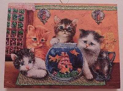 Cats Kitten Gold Fish Bowl Glitter Christmas Ornament Vintage Card Img