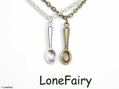 Single Spoon Bronze or Silver Plated Chain Necklace Food *Choose Length* Snuff