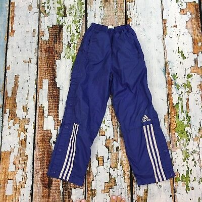 Kids Vintage Adidas Purple Three Stripe Snap Tear Away Track Pants Size S 8-10