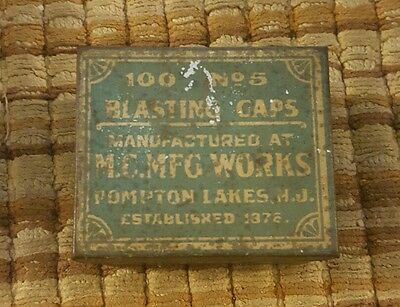 Antique M.C.MFG. Works No. 5 Blasting Cap Green Tin, mining, explosives