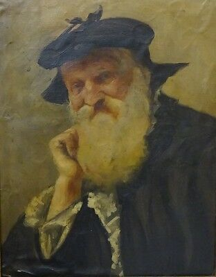 Original Antique Oil Painting on Paper Bust Portrait of Old Scottish Gentleman