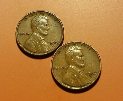 1936 S 1937 S Lincoln Wheat Penny 2 Coin Set #w5663