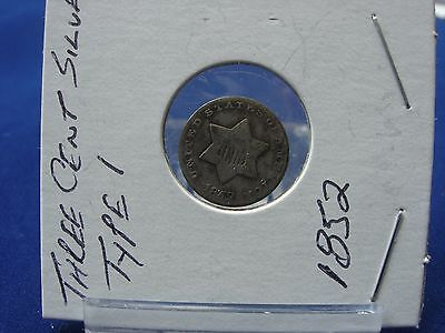 Early Date 1852 Three Cent Silver Type 1 G+