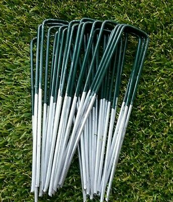 50 x Half Green Artificial Grass Turf U Pins Metal Galvanised Pegs Staples