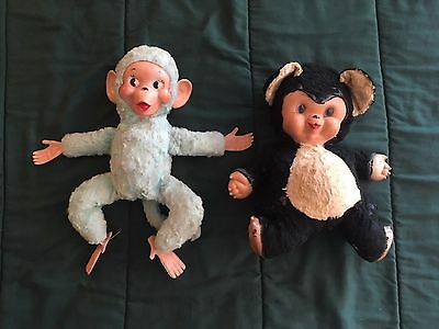 Set of Two 1950s Vintage Stuffed Toy Monkey and Bear