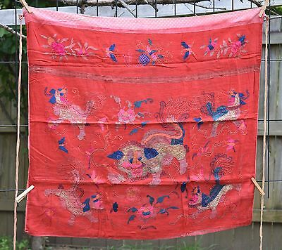 "Antique Chinese Hand Embroidered Fabric Textile Panel 34""x 30"""