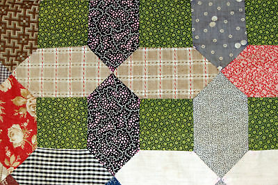 Early Patchwork Quilt Top Shirting Poison Green Calico Study Repurpose
