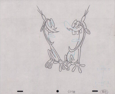 REN & STIMPY Production Cel Drawing Animation Art Cell Seal COA Monkey See