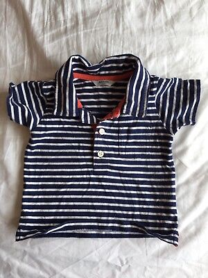 Baby Boden Boys Age 3-6months Navy Blue With White Stripes Polo Shirt