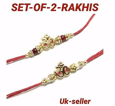 2 Rakhi Thread Raksha Bandhan Hindu Indian Festival-Wrist Band-Rakhadi OM DESIGN