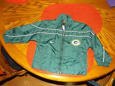Green Bay Packers Nfl  Zip Jacket Size 3T Nylon Very Nice Nike Nylon Light Weigh