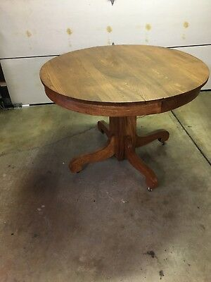 Antique Wooden Oak Table With Leaves Late 1800's-Early 1900's