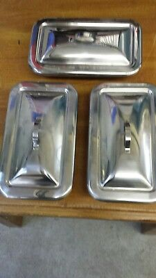 Lot of (3) ANCHOR Stainless Steel Medical Pans w Tops - Used Condition