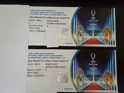 2 Tickets UEFA Super Cup Real Madrid vs Manchester United - Skopje - South East
