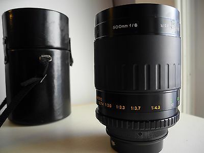 Vivitar 500mm f/8 Mirror lens with Pentax K T-mount adapter, case and filters