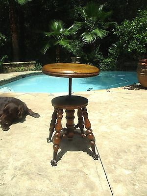 Original Antique Charles Parker  Piano Stool 1800's Metal Ball Claw