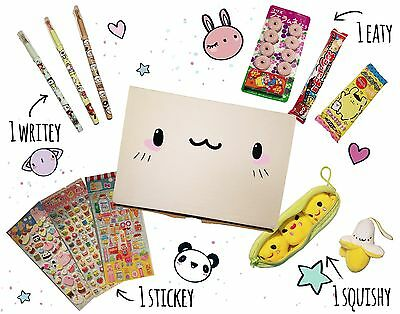 Nanika kawaii Japan surprise box with candy, toy, pen, and puffy sticker page!