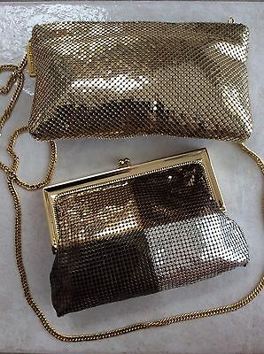 Lot of 2 Whiting and Davis Gold Metallic Mesh Evening Crossbody and Clutch Bags