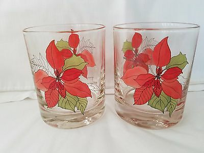 Red Poinsettia Old Fashioned Glasses Block Portugal Mary Lou Goertzen