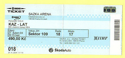 Orig.ticket     Icehockey World Champ. CZECH REP 2004       LATVIA - KAZAKHSTAN