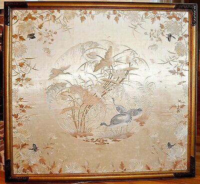 Museum Quality Large Antique Chinese Silk Embroidery Panel, 19th Century