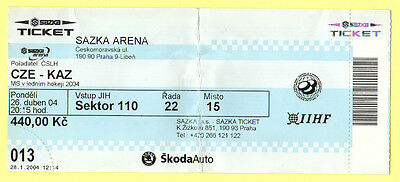 Orig.ticket   Icehockey World Champ. CZECH REP 2004       CZECH REP - KAZAKHSTAN