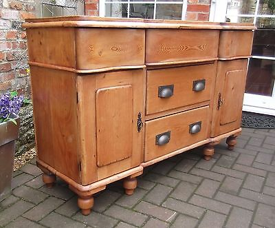 Lovely Antique Victorian Solid Pine Dresser~Curved Drawers~Sideboard~Buffet