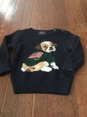 Polo Ralph Lauren Toddler Boys Blue Sweater With Dog & Flag Size 12 Months