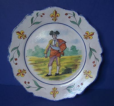 CA ALCIDE CHAUMEIL French faience n QUIMPER pottery plate toreador