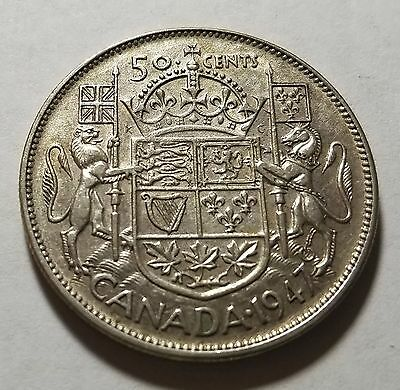 "1947 Canada 50 Fifty Cents XF/AU Almost Uncirculated ""Straight 7"""