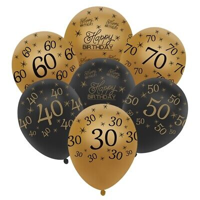 "12"" 10x Adult Happy Birthday Number Age LATEX Black And Gold BALLOON Party Decor"