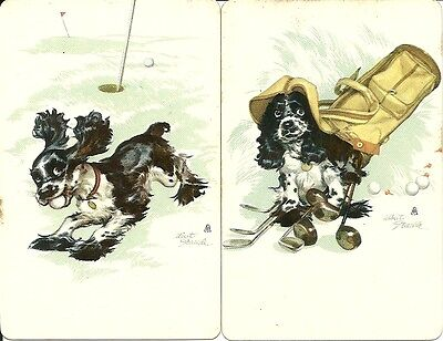 Two Vintage Playing Cards with Cocker Spaniel and Golf