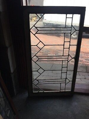 Sg 1529 Leaded Glass Transom Window 23.25 X 40.5 Antique