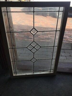 Sg 1530 Antique Leaded Glass Beveled Center Window 22.25 X 32.2
