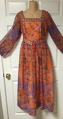 Vtg 1960's Maxi Dress Boho Hippie Chic Floral and Embroidery sz 14