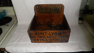 "Rare -Aunt Lydias Button And Carpet Thread Wooden Hanging Wall Box 11"" X 10"" Exc"